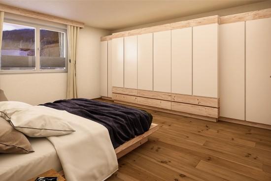 3D Visualisierung eines Schlafzimmers - Doppelbett - Tischlerei Buchsteiner Salzburg